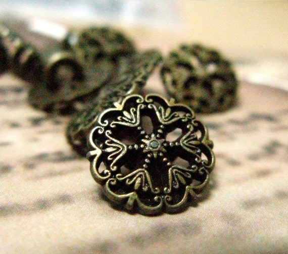 Small Metal Buttons - Set 10 Elegance Garden Grille Style Open Work Vintage Style Antique Copper Buttons. 0.79 inch,