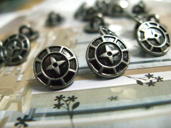 Metal Buttons - Cross Star Metal Buttons , Nickel Silver Color , Shank , 0.39 inch , 10 pcs