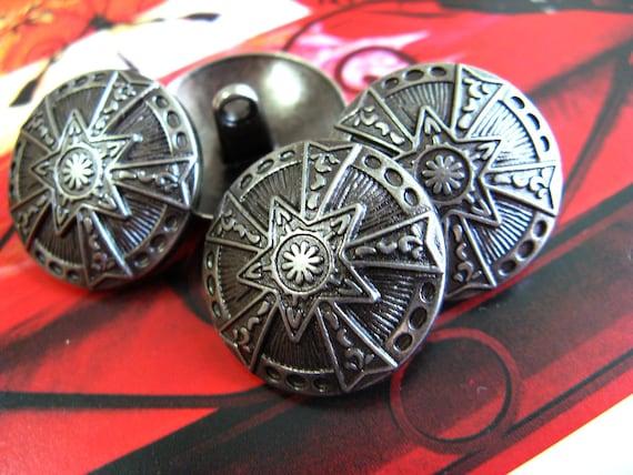 Stunning 10 High Impact Gunmetal Star Emblem Buttons. 0.83 inch