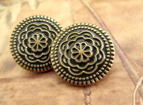 Copper Metal Buttons - FAB Set 10 Copper Relief Big Flower Bloom Pattern Metal Buttons. 0.79 inch