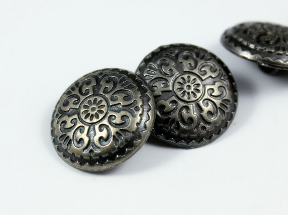 Metal Buttons - Carpet Pattern Metal Buttons , Nickel Silver Color , Domed , Shank , 0.79 inch , 10 pcs