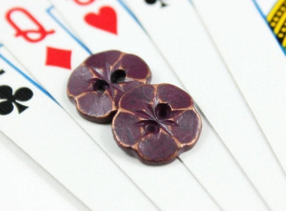 Purple Metal Button - Lot 10 Elegance Realistic Flower Retro Purple Buttons.0.51 inch