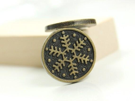 Metal Buttons - Snowflake Metal Buttons , Antique Brass Color , Shank , 0.71 inch , 10 pcs