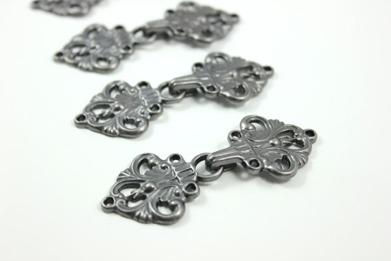 HOOK And EYE Fasteners - Stunning Open Work Baroque Swirl Cloak Clasp Fasteners. 5 Pairs.