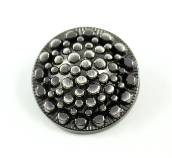 Metal Buttons - Optical Fiber Style Metal Shank Buttons , Shiny Gunmetal Color , 0.79 inch , 4 pcs