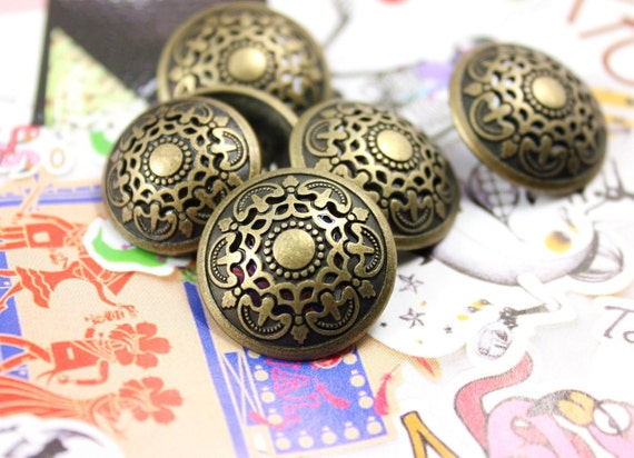 Medieval Filigree Metal Buttons , Antique Brass Color , Domed , Openwork , Shank , 0.55 inch , 10 pcs