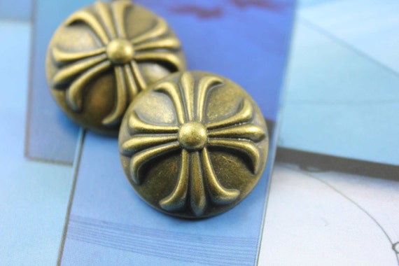 Metal Buttons - Baroque Cross Metal Buttons , Antique Brass Color , Domed , Shank , 0.79 inch , 6 pcs