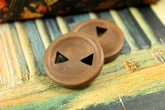 Wood Buttons - Classy Triangle Holes Concave Center Light Brown Wooden Buttons, 0.91 inch (10 in a set)