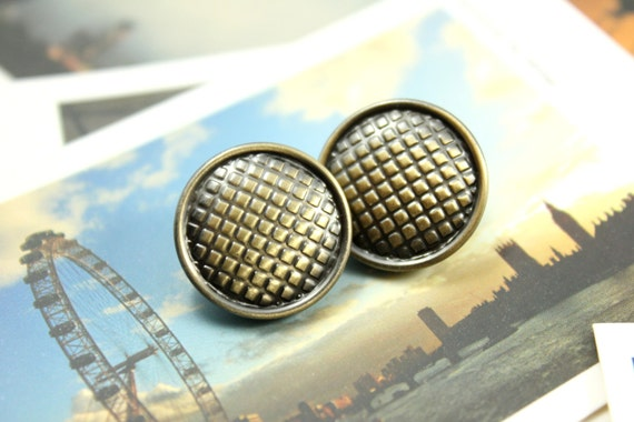 Metal Buttons - Gingham Metal Buttons , Brass Color , Shank , 0.71 inch , 10 pcs
