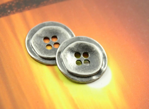 Metal Buttons - Stacked Rounds Metal Buttons , Nickel Silver Color , 4 Holes , 0.91 inch , 10 pcs