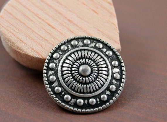 Gorgeous Metal Buttons - 8 Pieces of Byzantine Style Bead and Round Design Antiqued Silver Buttons. 0.91 inch
