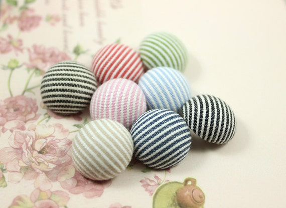 Elegant Small Stripes Mix and Match Color Fabric Buttons,0.79  inch  (8 in a set)