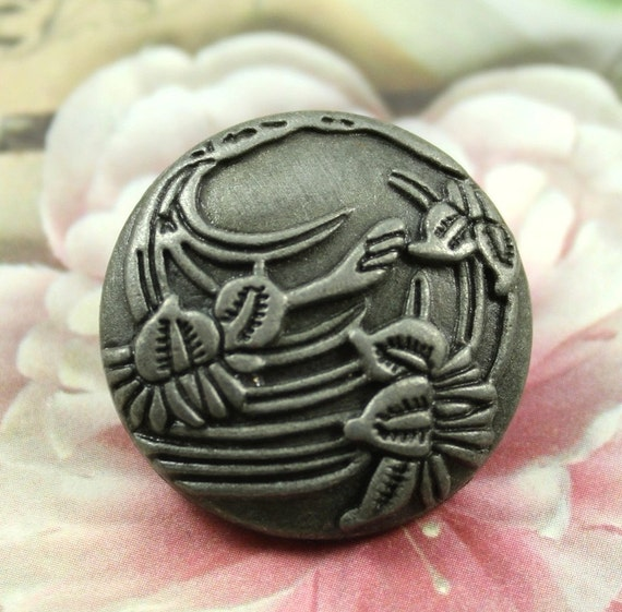 Metal Buttons - Begonia flowers Metal Buttons , Retro Silver Color , Shank , 1 inch , 8 pcs