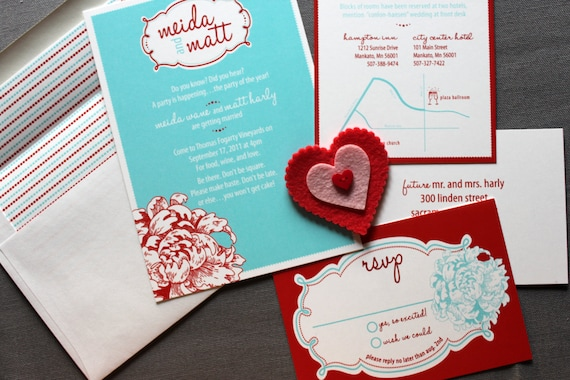 Retro Love Wedding invitation shown in Red and Aqua- FREE shipping on all US orders