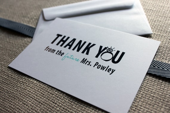 Future Mrs. Thank you Cards for the bride to be - customize to match your wedding colors and as always, FREE US shipping