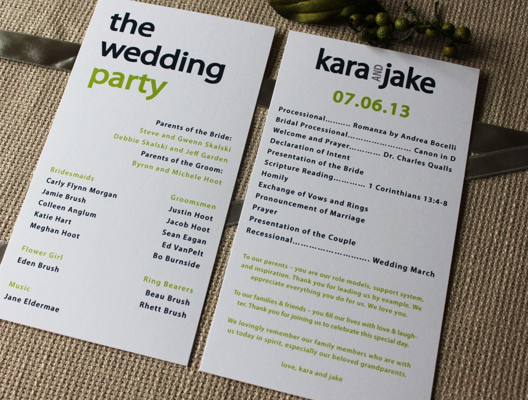 Creative Wedding Programs | 21st - Bridal World - Wedding Ideas ...