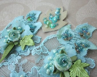 Aqua/Olive Lace Applique
