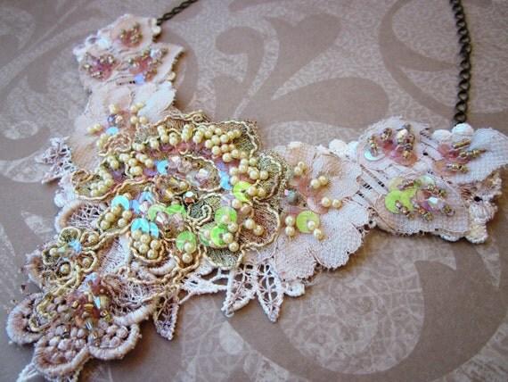 Light Peach Lace Necklace