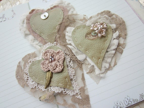 Cappuccino Hearts - hand beaded embellishments