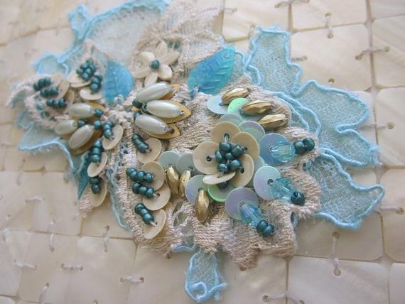 Cream/Blue Lace Applique
