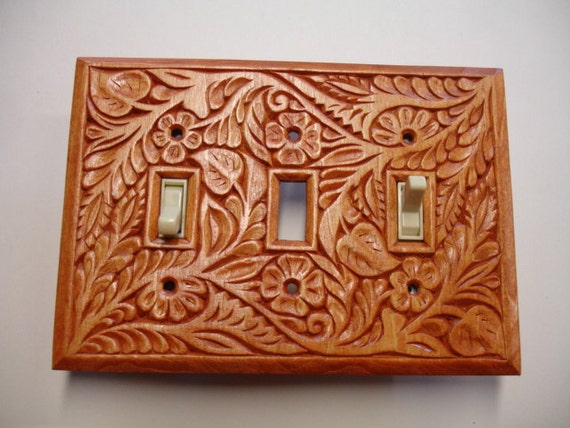 Triple switch cover plate, hand carved solid wood