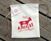 Hand Printed Linen Gift Bag With Three Hand Printed Greeting Cards Scandinavian Deer