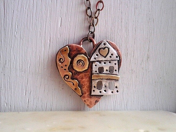SALE Price Mixed Metal Heart Pendant Sterling Silver Copper Brass Original Metalwork ONE Of A Kind
