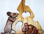 ON SALE! HANDMADE INTARSIA 'GOT CHEESE' WOODEN MICE