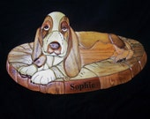INTARSIA BASSETT HOUND ON BLANKET-Personalized FREE