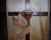 INTARSIA CROSS WITH DOVE WALL HANGING
