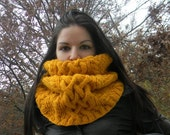 Womens hand knitted cowl, Preseason SALE big, chunky, golden color,ready to ship