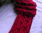 Men's scarf, ruby red, chain cable knit