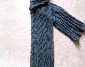 Men's scarf, handknitted, black, cable knit