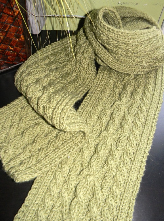 SALE Mens scarf, unique cable knit, dusty green READY to ship