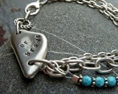 Be Brave Pewter Bracelet with Turquoise Crystals and Antique Silver Chain - Be Brave Charm Bracelet