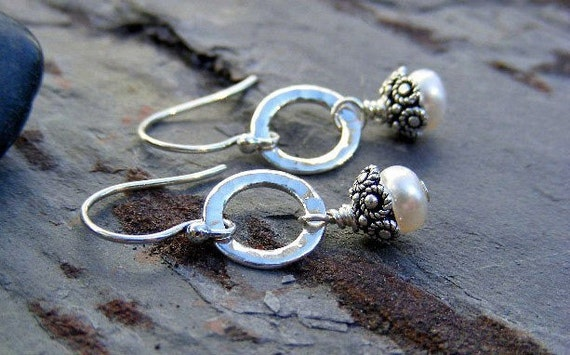 Sterling Silver Hammered Open Circle and Bali Capped Freshwater Pearl Earrings