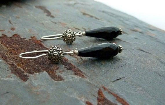 Sterling Silver Marcasite Earrings Drop with Black Onyx, Black Onyx Earrings, Marcasite Dangle Earrings