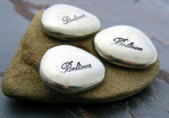 Inspirational Pewter Word Stone Hand Stamped  BELIEVE - Pocket Stone
