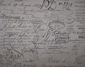FABRIC SQUARE 27x27 french Document Script