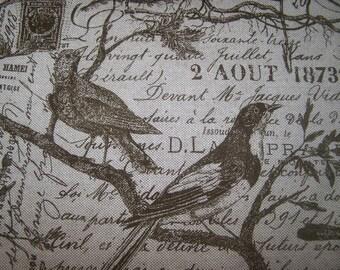 Love Nest BIRDS inTea Ieaves on French Script multipurpose fabric