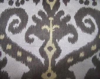 MARRAKESH graphite IKAT Mocha Brown Wheat fabric