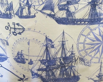Nautical screen print original design fabric by design legacy