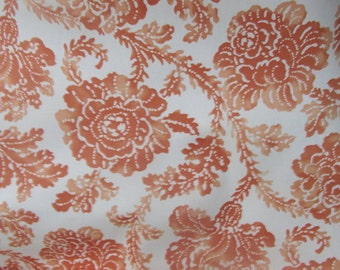 Coral floral toile style print fabric
