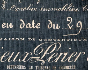 FABRIC SQUARE 27x27 inches french script in blue