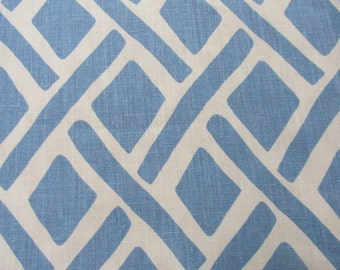 Treads River blue designer multipurpose linen fabric  by KRAVET
