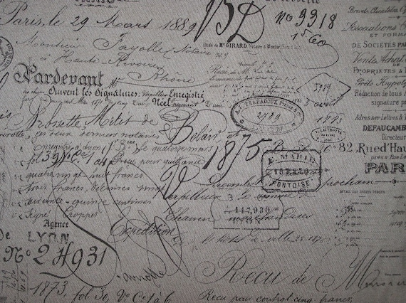 FRENCH Document Script on Heavy Basket Cotton multipurpose fabric