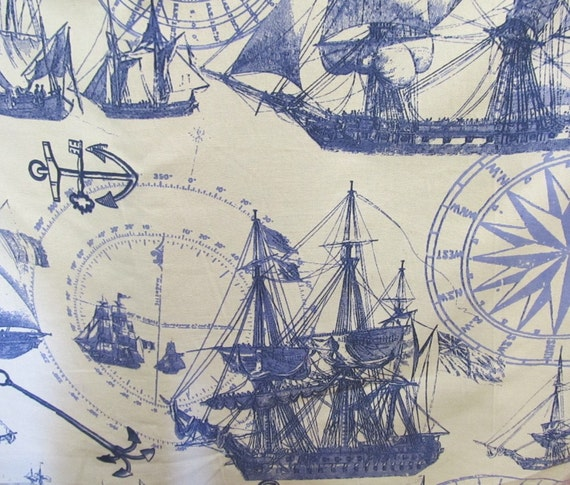 Nautical screen print original design fabric by design legacy
