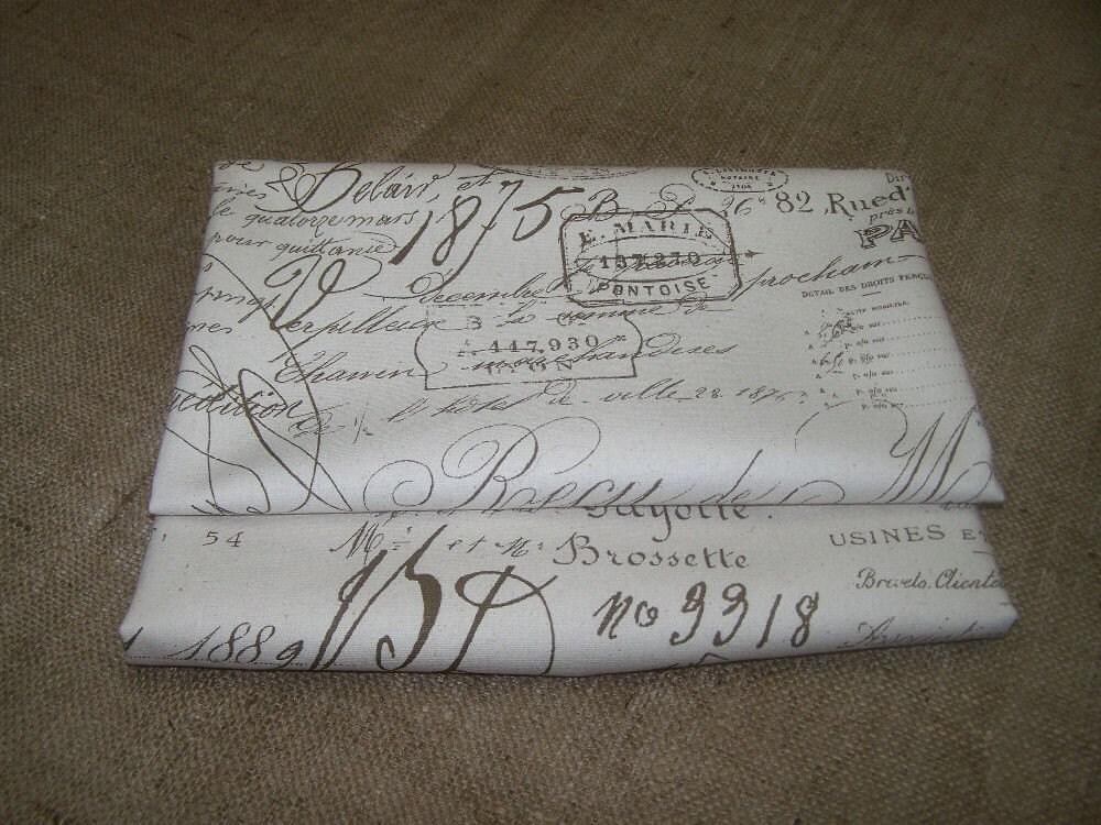 FRENCH SCRIPT Vintage Documents Cotton Duck Fabric