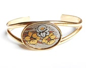 Flower Cuff Bracelet - Vintage Gold Tone Bracelet, Jonquil Flowers/ March Birthdays