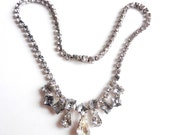 Vintage Rhinestone Choker Necklace - 1950s Cocktail Necklace